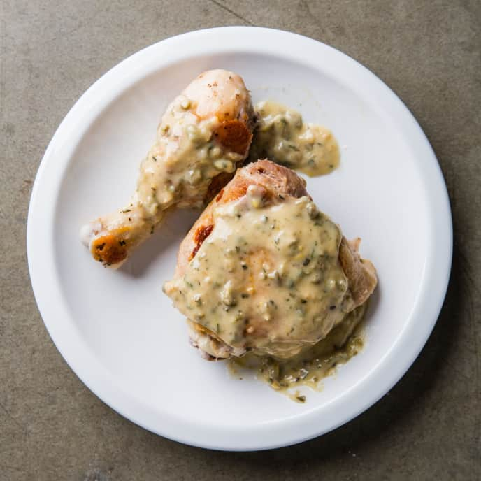 Stovetop-Roasted Chicken with Lemon-Caper Sauce