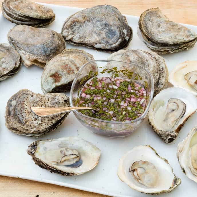 Grilled Clams, Mussels, or Oysters with Mignonette Sauce