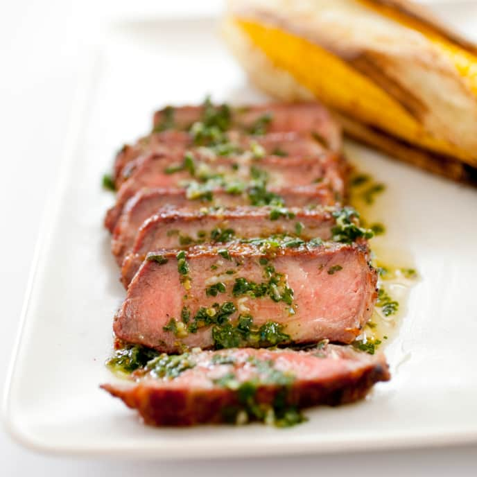 Gas-Grilled Argentine Steaks with Chimichurri Sauce