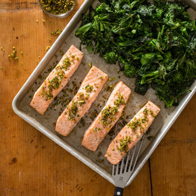 Roasted Salmon and Broccoli Rabe with Pistachio Gremolata