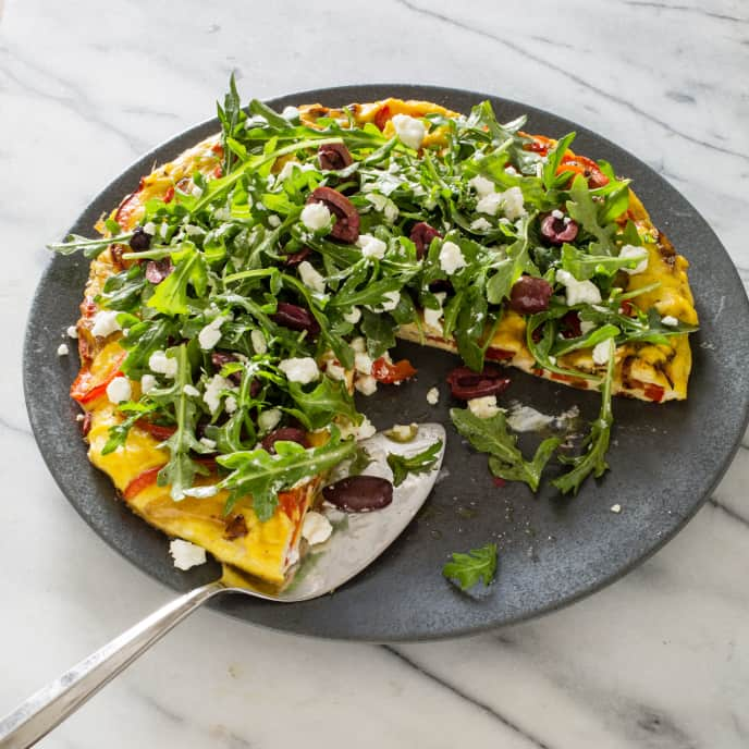 Pepper and Onion Frittata with Arugula Salad