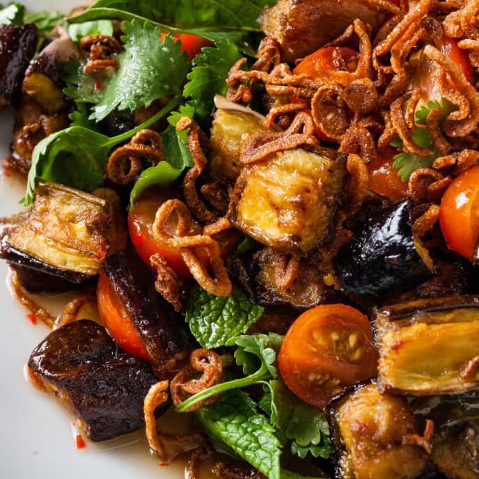 Crispy Thai Eggplant Salad