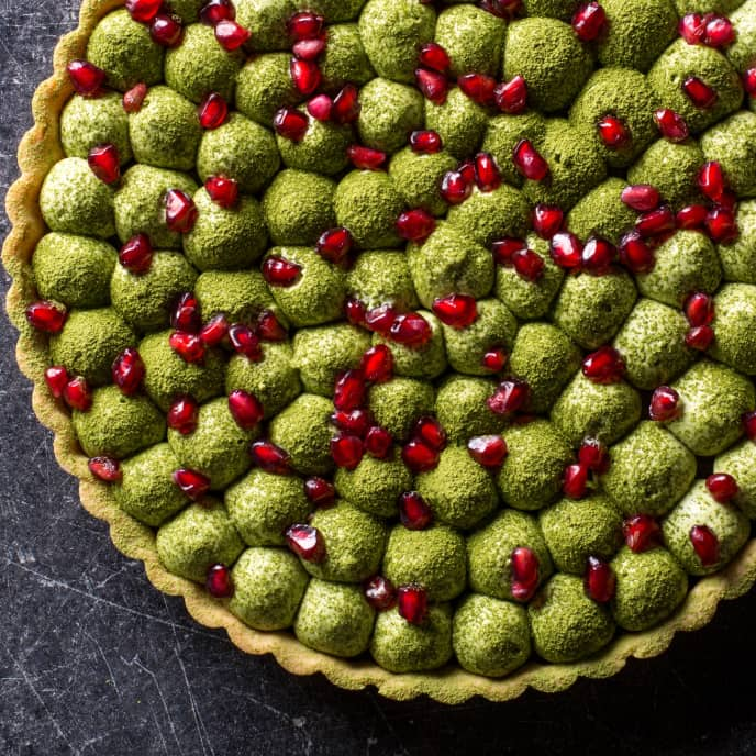 Chocolate, Matcha, and Pomegranate Tart