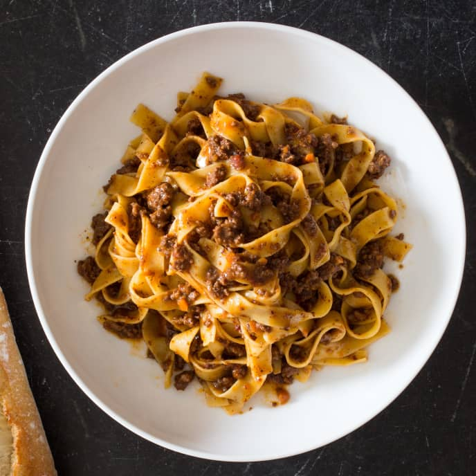 Weeknight Tagliatelle with Bolognese Sauce