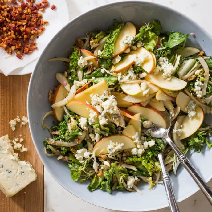 Bitter Greens, Fennel, and Apple Salad with Warm Pancetta Dressing