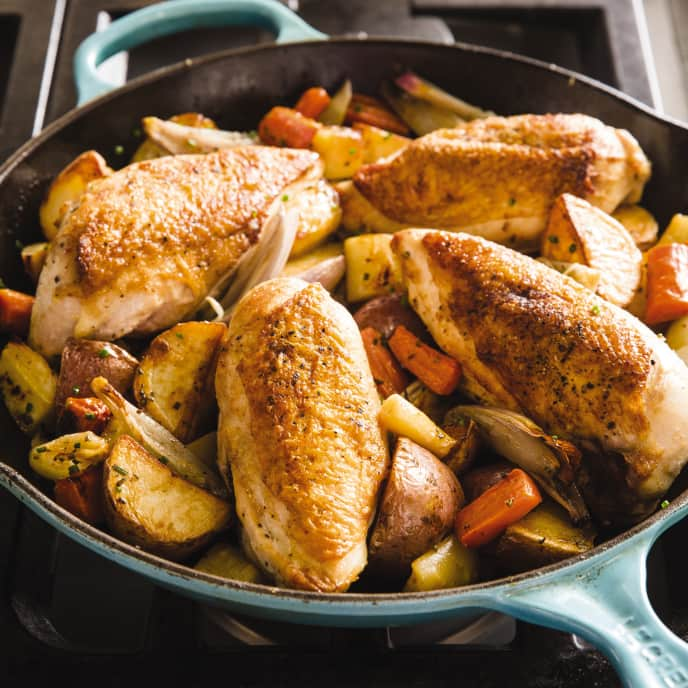 Cast Iron Pan-Roasted Chicken Breasts with Root Vegetables