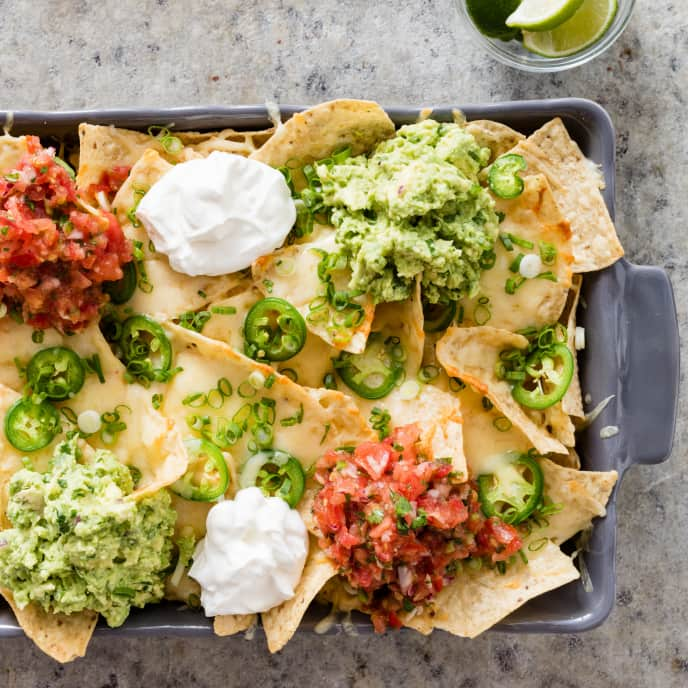 Cheesy Nachos with Guacamole and Salsa