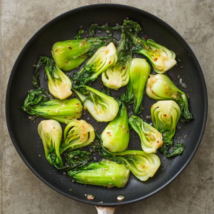 Sautéed Baby Bok Choy with Shallot and Fish Sauce