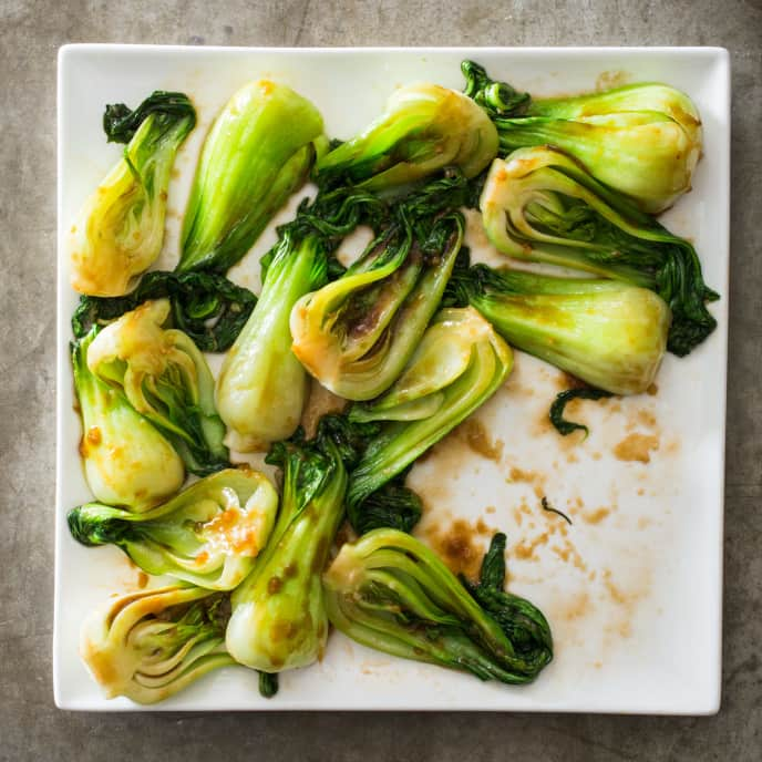 Sautéed Baby Bok Choy with Oyster Sauce and Ginger