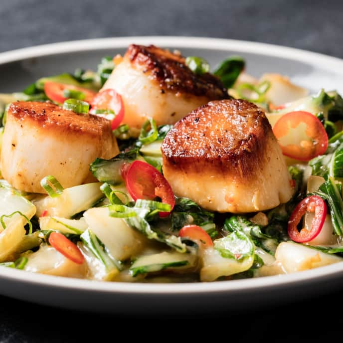 Miso Butter–Basted Scallops with Bok Choy and Chile