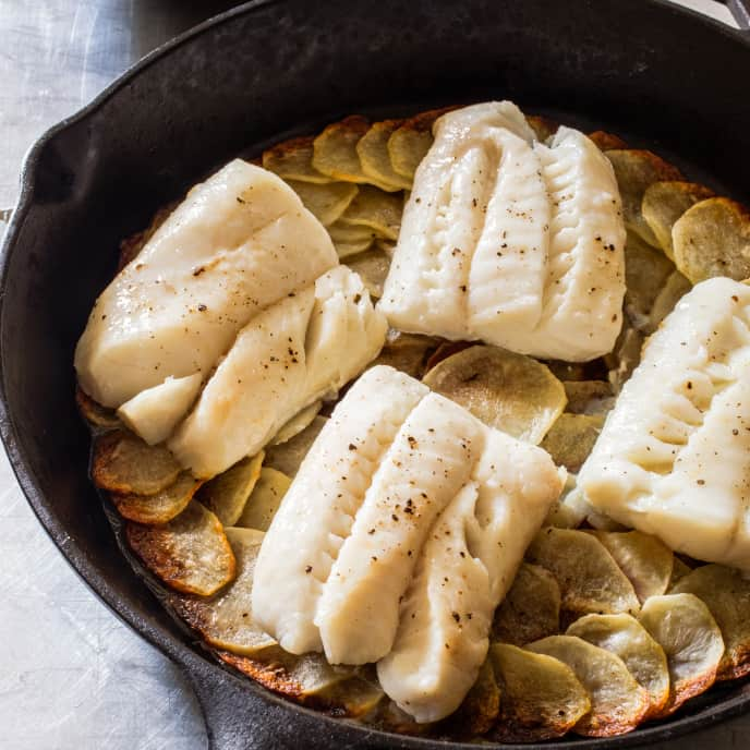 Cast Iron Pan-Roasted Cod and Potatoes with Orange-Parsley Salad