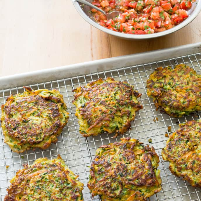 Paleo Zucchini Fritters with Fresh Tomato Salsa