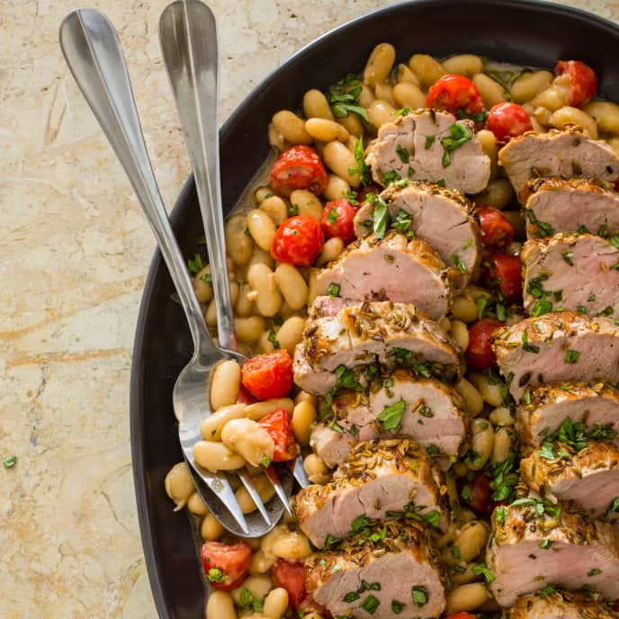 Fennel-Crusted Pork with White Beans