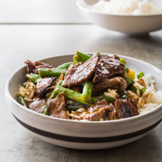 Teriyaki Stir-Fried Beef with Green Beans and Shiitakes for Two