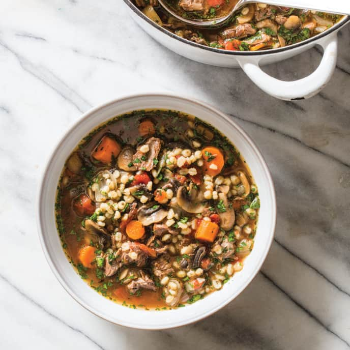 Beef Barley Soup with Mushrooms and Thyme