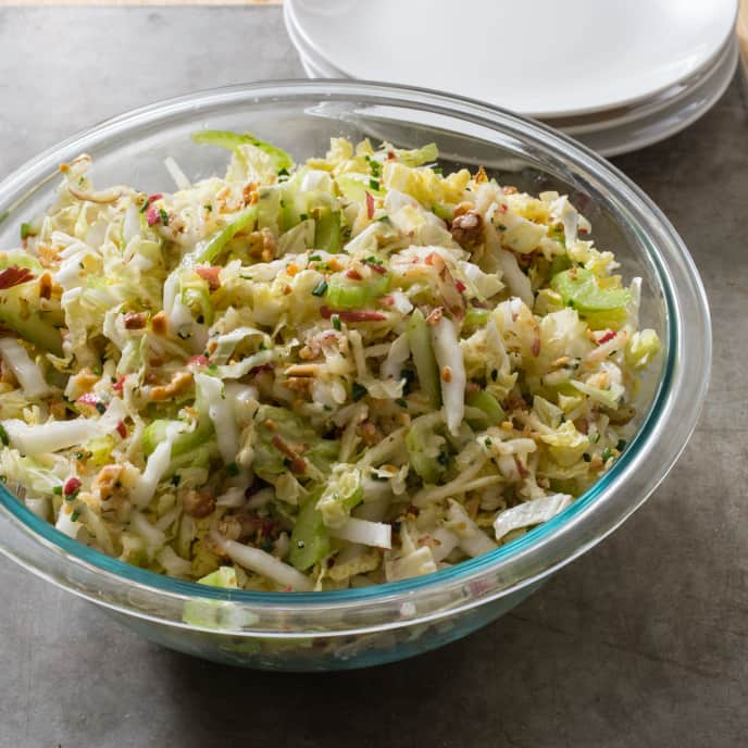 Napa Cabbage Slaw with Apple and Walnuts