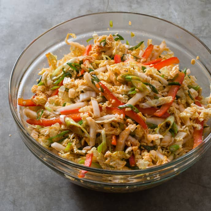 Spicy Napa Cabbage Slaw with Red Bell Pepper