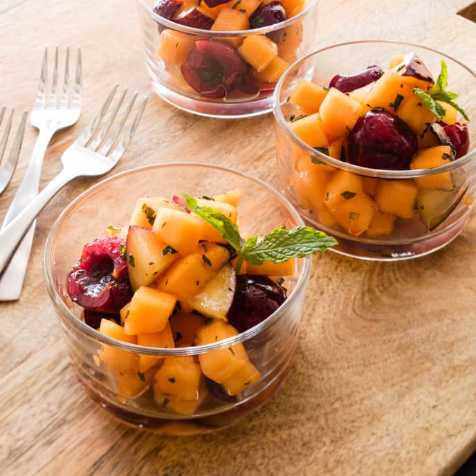 Cantaloupe, Plums, and Cherries with Mint and Vanilla