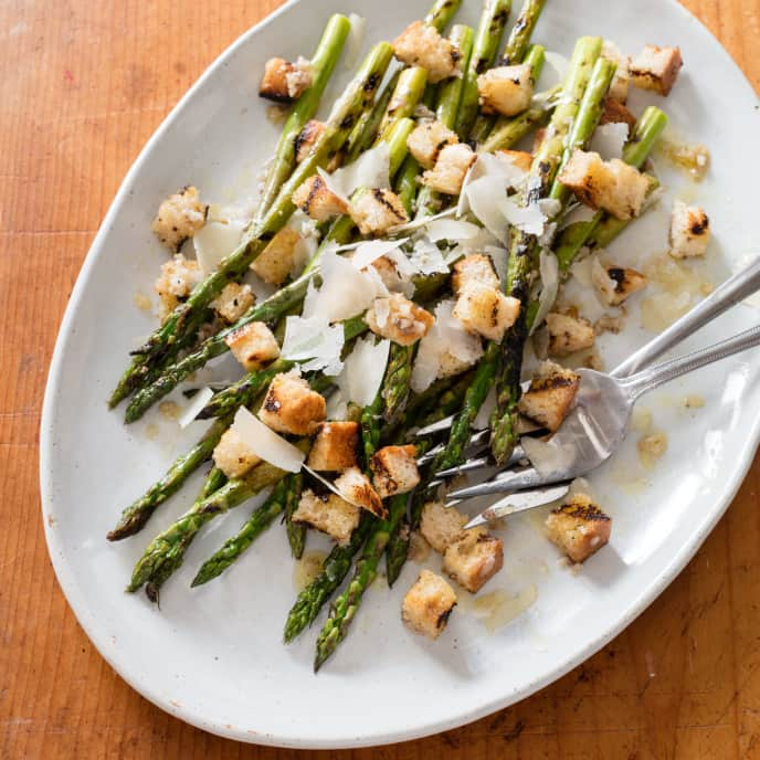 Asparagus and Country Bread with Anchovy Dressing