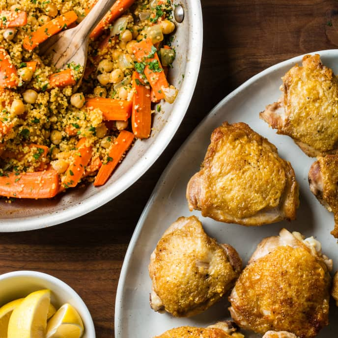One-Pan Chicken with Couscous and Carrots