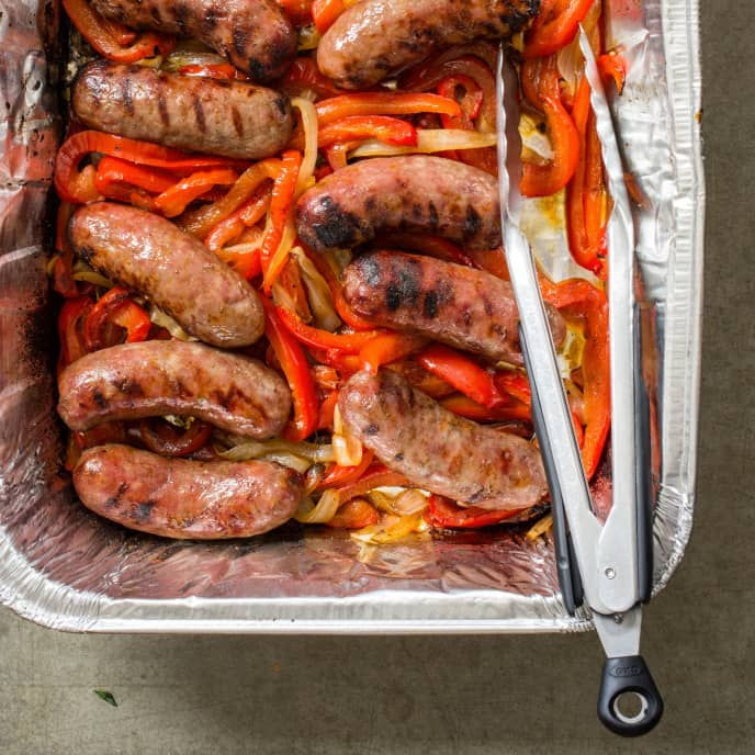 Grilled Sausages with Bell Peppers and Onions