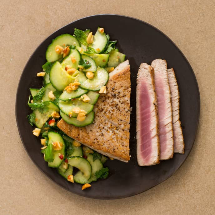 Tuna Steaks with Cucumber-Peanut Salad