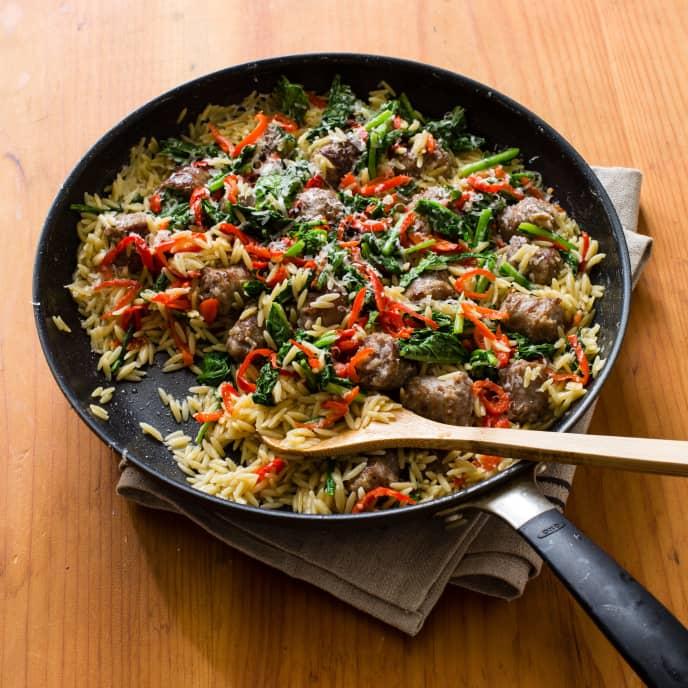 Orzo with Sausage and Broccoli Rabe