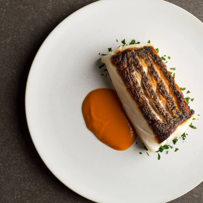 Crispy Pan-Seared Fish with Piquillo Pepper Sauce