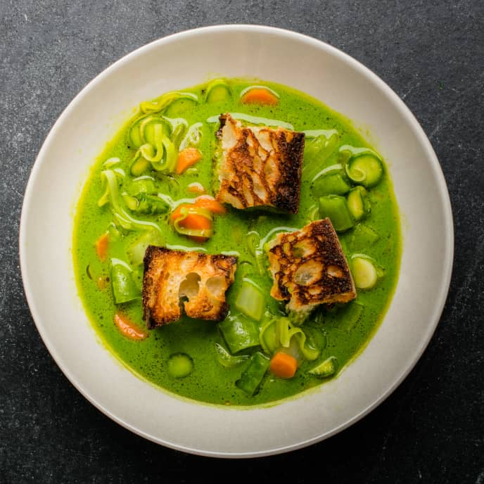Spring Vegetable Soup with Charred Croutons