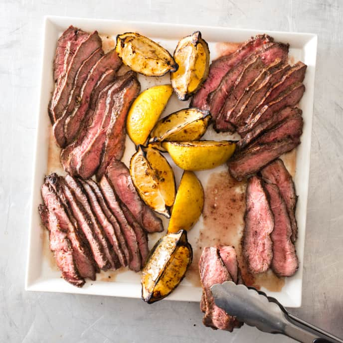 Grill-Smoked Herb-Rubbed Flat-Iron Steaks
