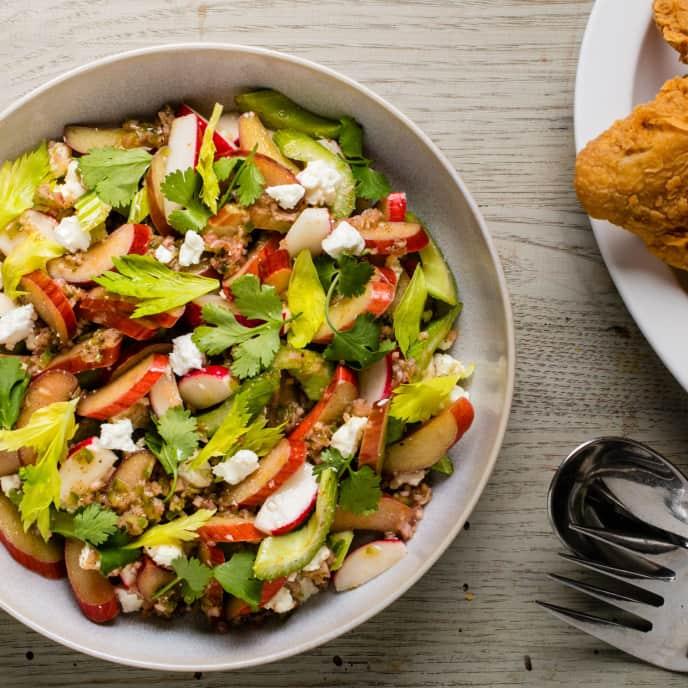 Rhubarb, Celery, and Radish Salad with Feta and Cilantro