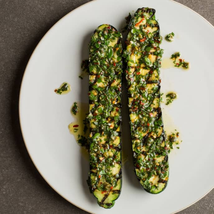 Brined Grilled Zucchini with Mint Salsa Verde