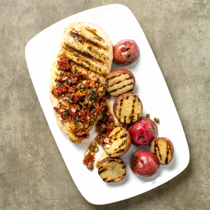 Grilled Chicken and Potatoes with Sun-Dried Tomato Relish