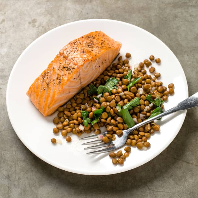 Pan-Seared Salmon with Lentil Salad