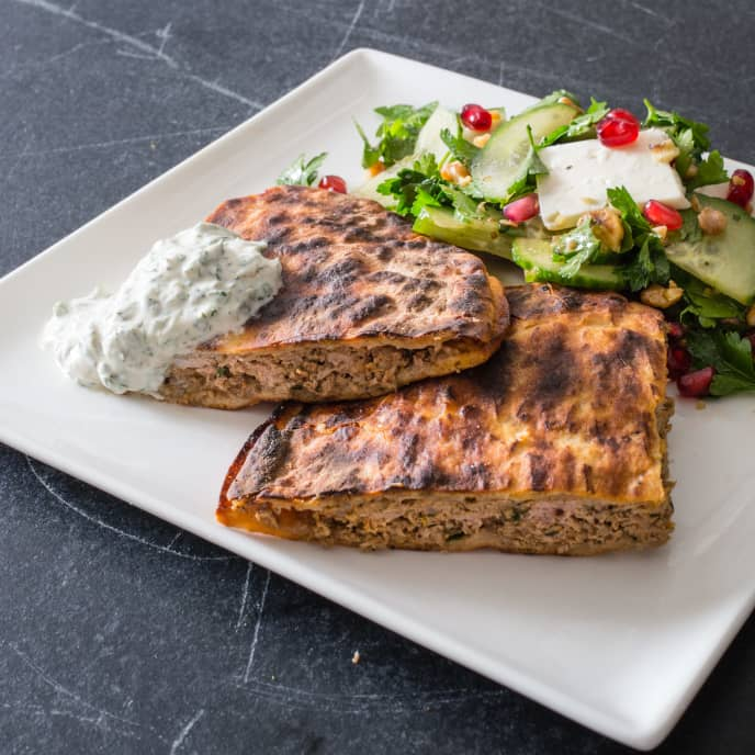 Grilled Arayes (Grilled Lamb-Stuffed Pitas with Yogurt Sauce)