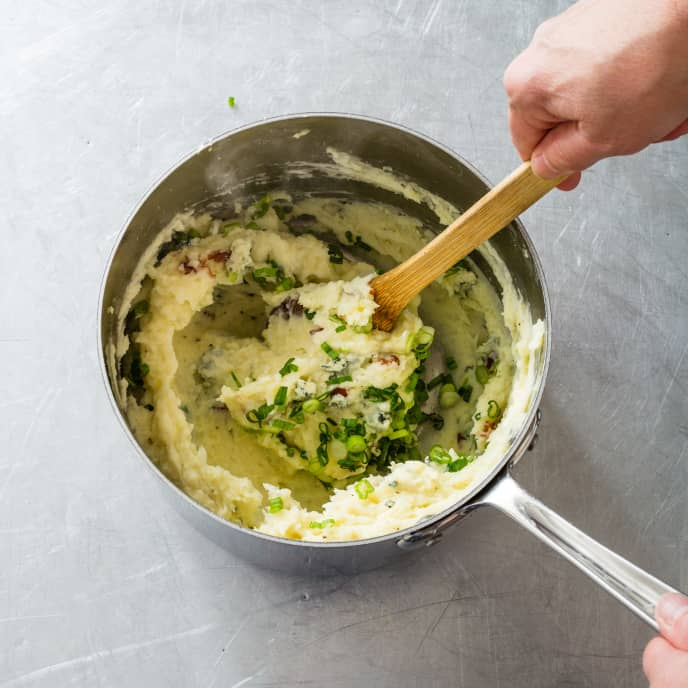 Easy Mashed Potatoes with Bacon, Blue Cheese, and Scallions
