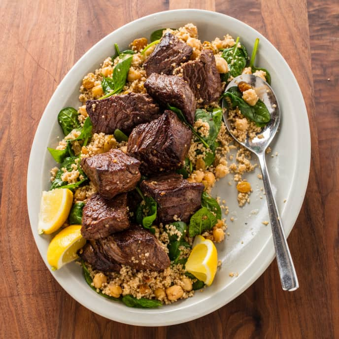 Moroccan Steak Tips and Couscous