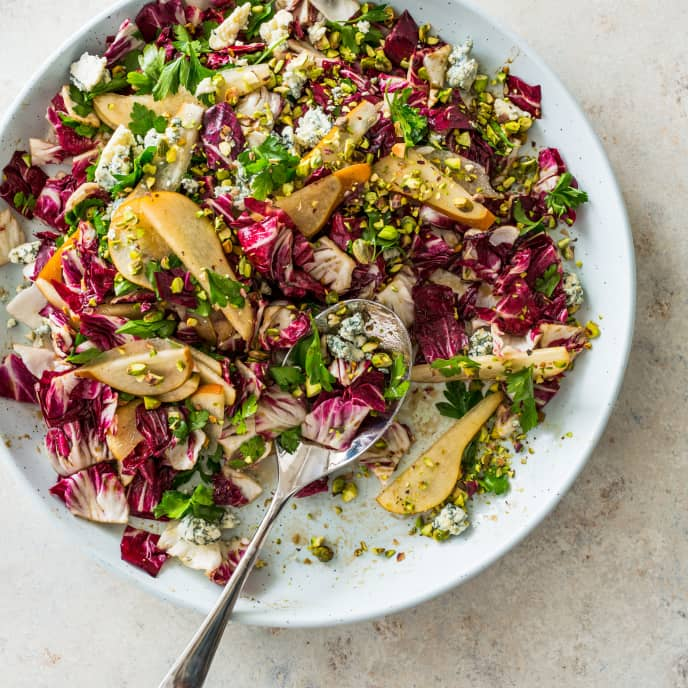 Radicchio Salad with Pear, Parsley, and Blue Cheese