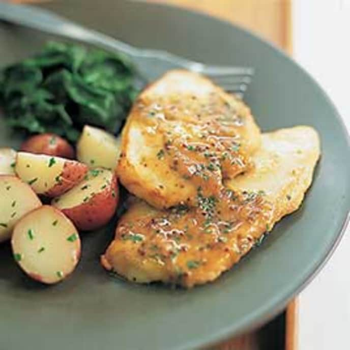 Sauteed Chicken Cutlets with Tomato, Thyme and White Wine Vinegar