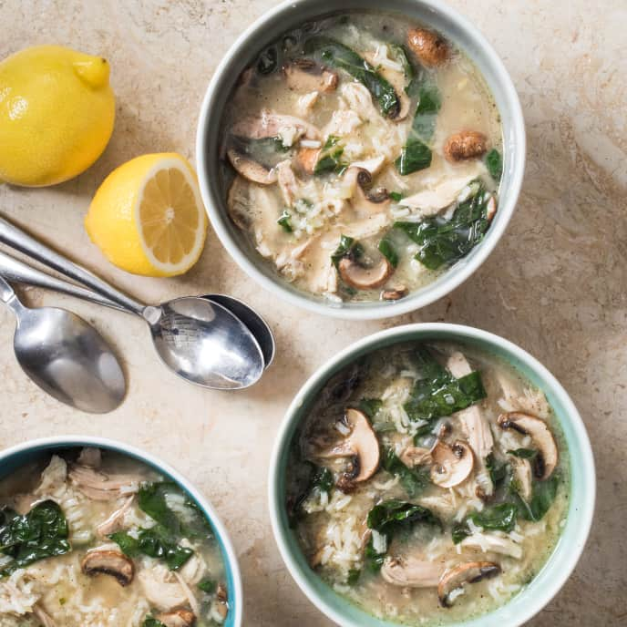 Turkey Rice Soup with Mushrooms and Swiss Chard