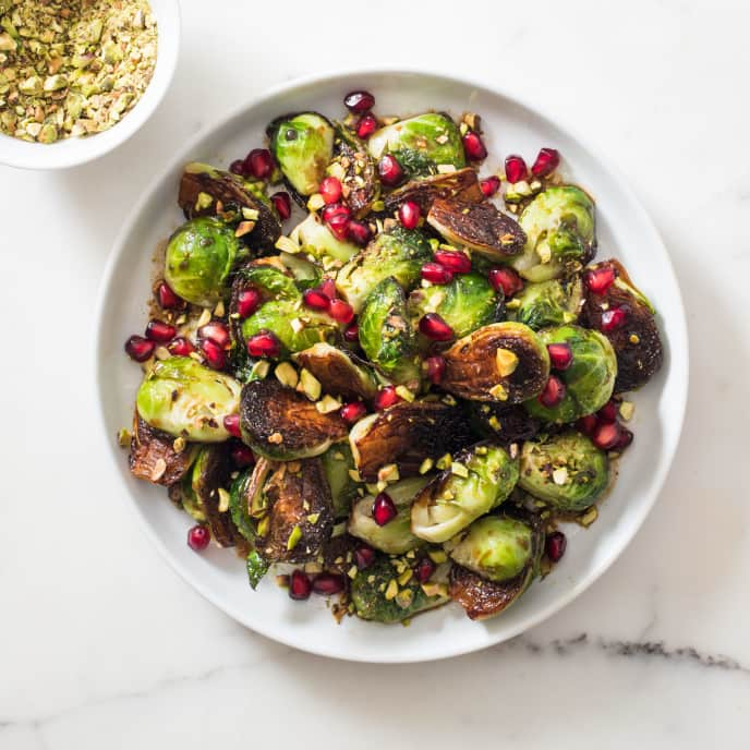 Skillet-Roasted Brussels Sprouts with Pomegranate and Pistachios