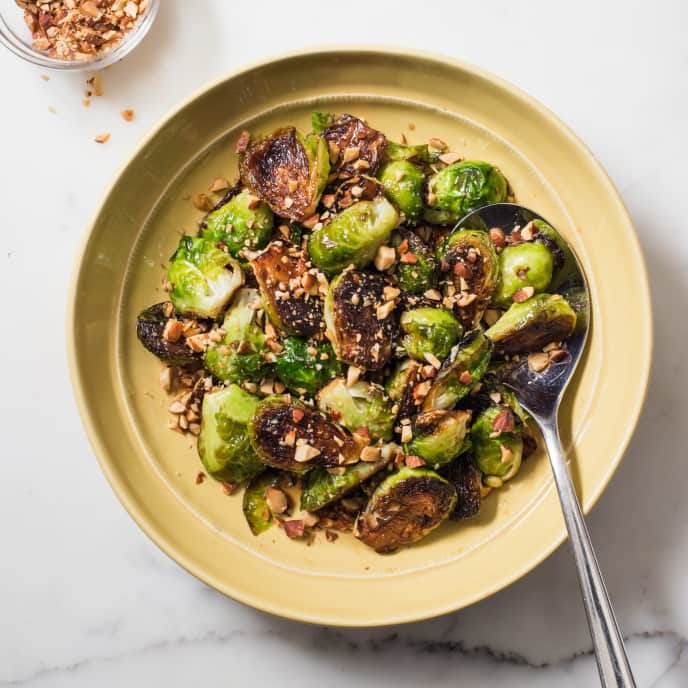 Skillet-Roasted Brussels Sprouts with Maple Syrup and Smoked Almonds