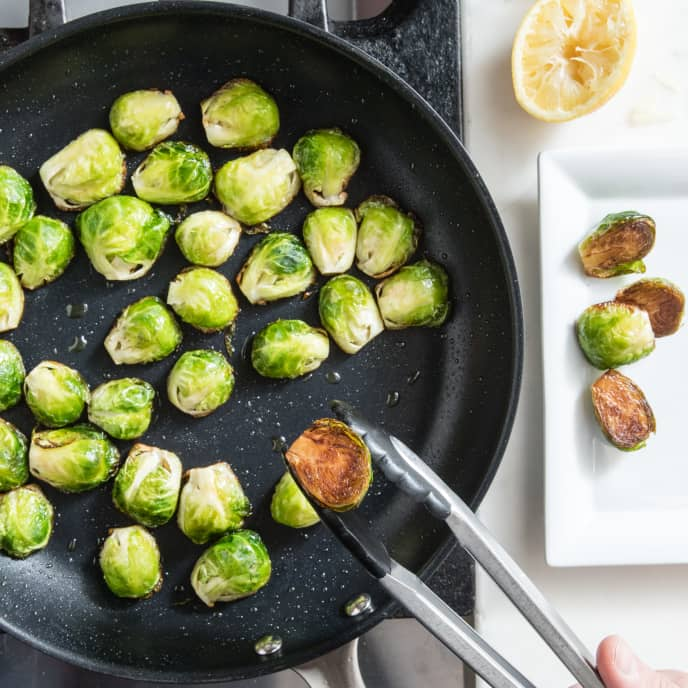Skillet-Roasted Brussels Sprouts with Lemon and Pecorino Romano