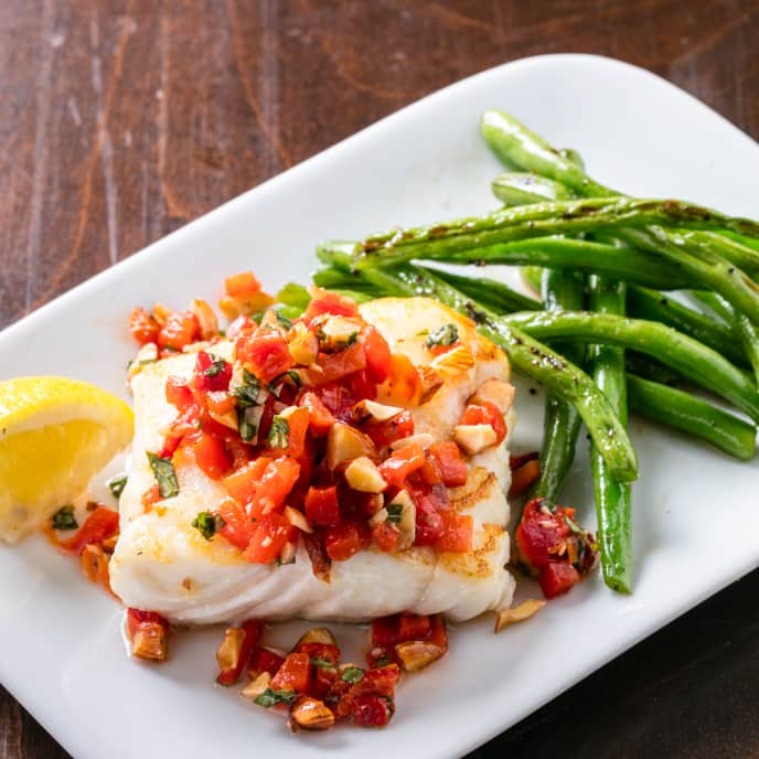 Pan-Seared Cod with Blistered Green Beans and Red Pepper Relish