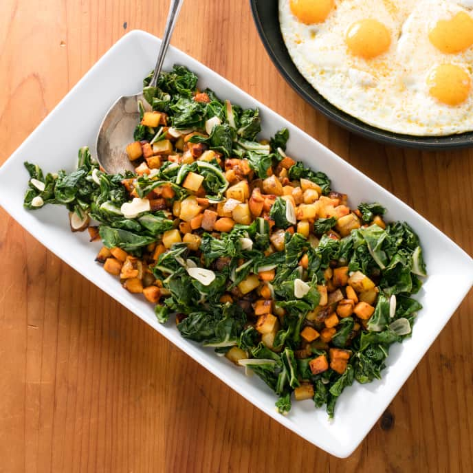 Eggs with Sweet Potato and Swiss Chard Hash