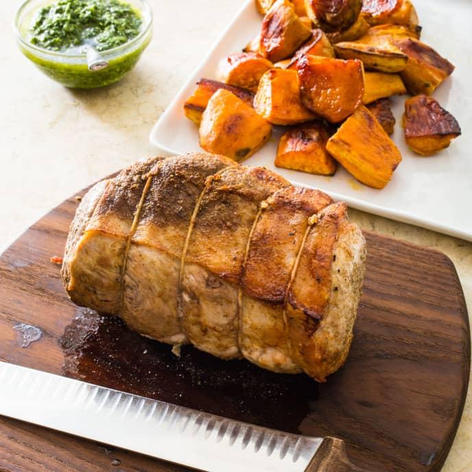 Roast Pork Loin with Sweet Potatoes and Cilantro Sauce