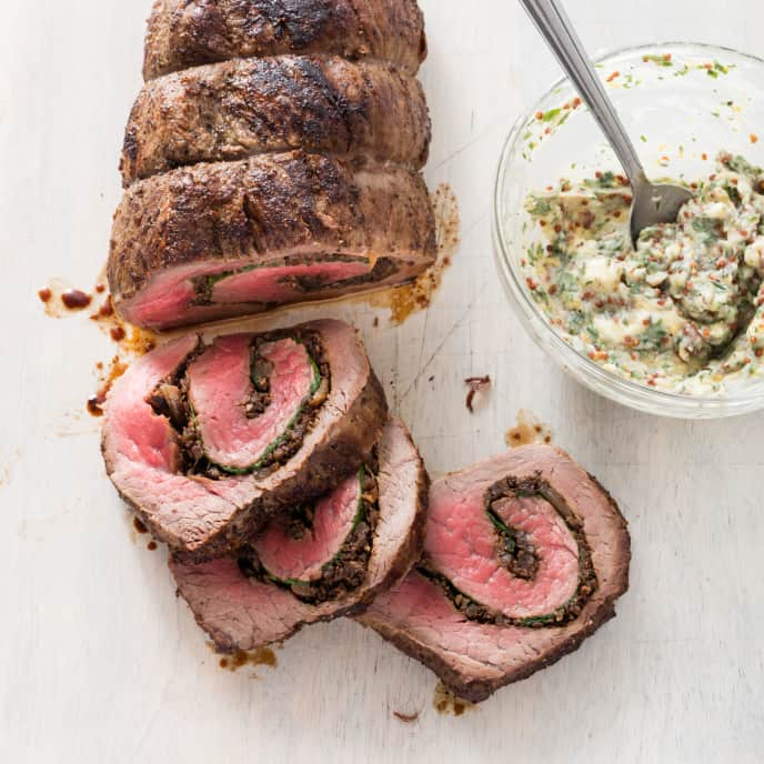 Roast Beef Tenderloin With Caramelized Onion And Mushroom Stuffing