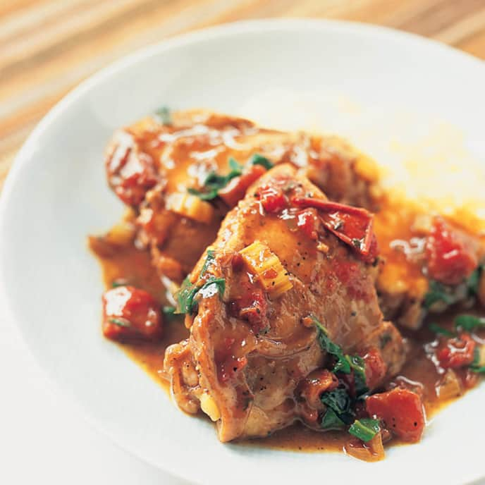 Braised Chicken with Swiss Chard, Tomatoes, and Balsamic Vinegar