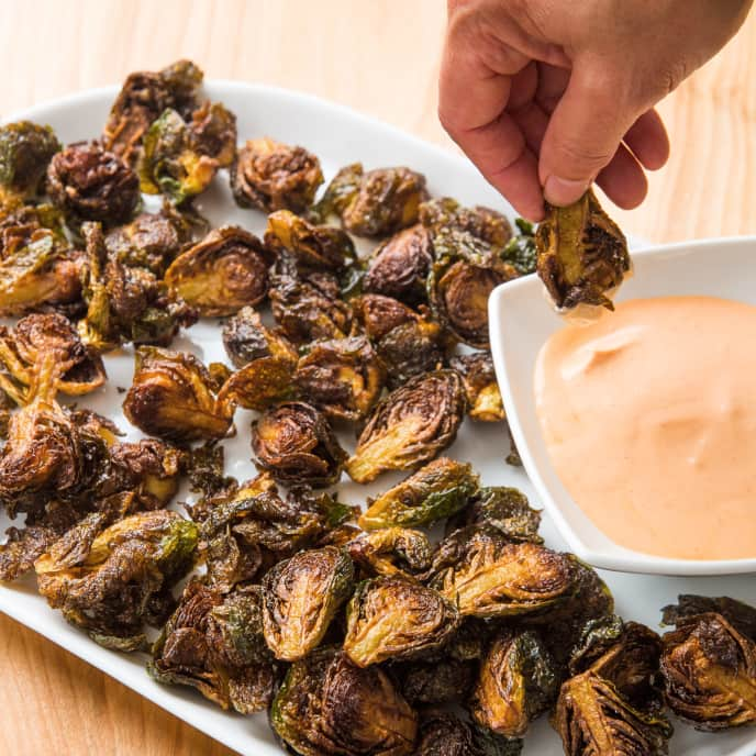 Fried Brussels Sprouts with Sriracha Dipping Sauce