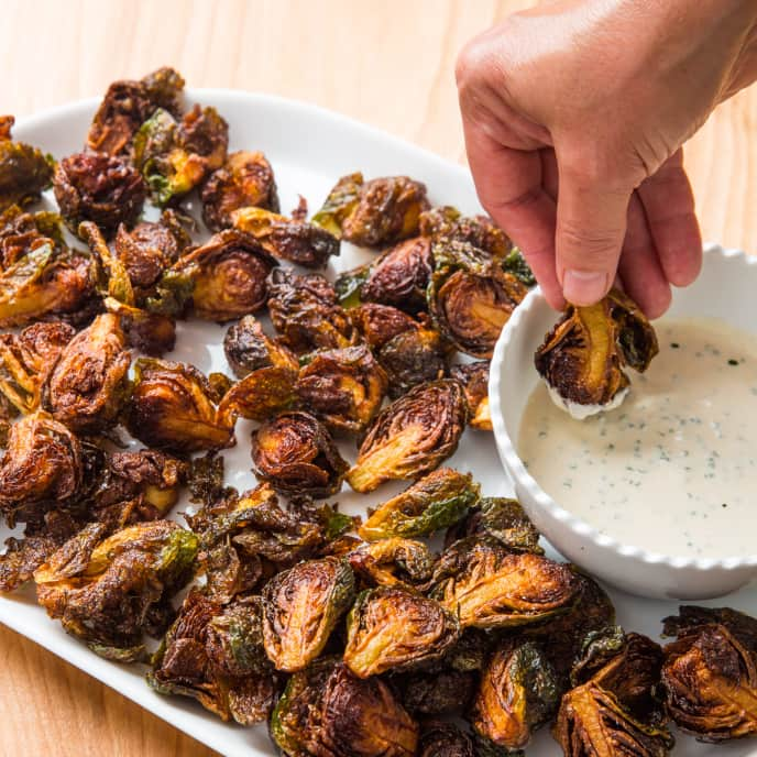 Fried Brussels Sprouts with Lemon-Chive Dipping Sauce